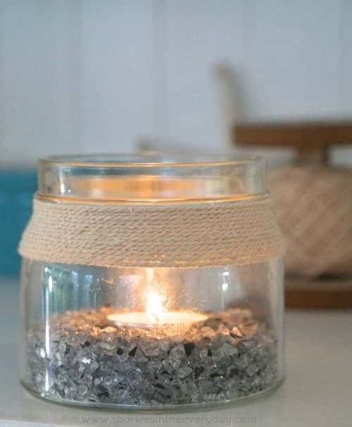 DIY Coastal Candle from recycled jars