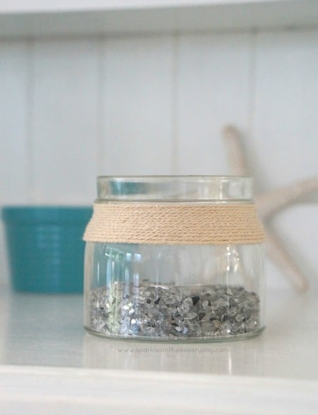 DIY Craft and home idea Coastal Candle from a recycled jar.