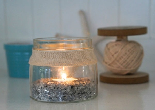 Easy DIY Craft - Coastal Candle from recycled jars