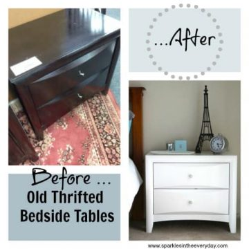 Before and After Thrifted Bedside Tables Collage