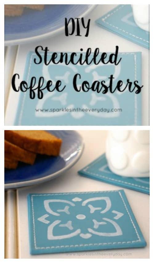 DIY Stencilled Coffee Coasters