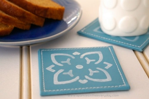DIY Stencilled Coffee Coasters