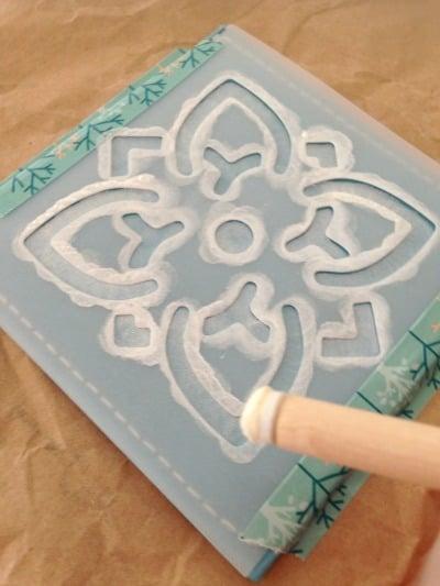 Stencilling the DIY Stencilled Coffee Coasters