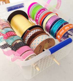 storage for string, ribbon and tape