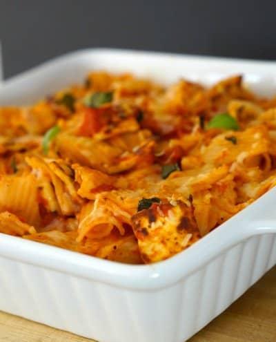 Halloumi, Tomato and Basil Pasta Bake
