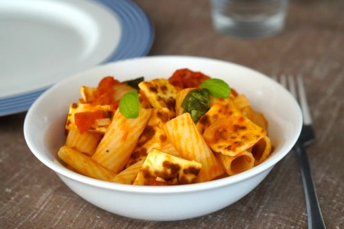 a bowl of Halloumi, Tomato and Basil Pasta