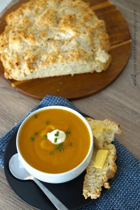 Hot Gluten Free irish Soda Bread with Pumpkin Soup