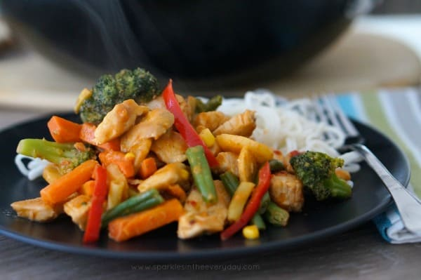 Quick Stir-fry with Easy Peanut Sauce! Gluten Free Too!