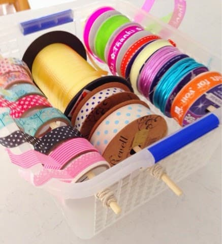 Cheap and easy storage for Ribbons, Tape and String!