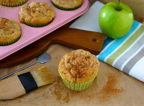 A tray of Gluten Free Apple and Cinnamon Muffins