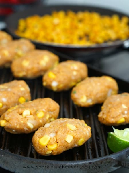 Cooking Chicken and Corn Koftas on a grill plate
