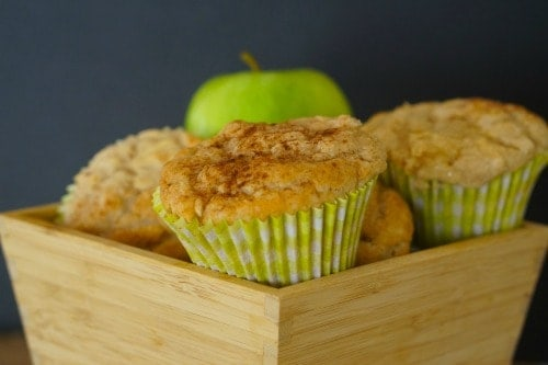 a bowl of Gluten Free Apple and Cinnamon Muffins