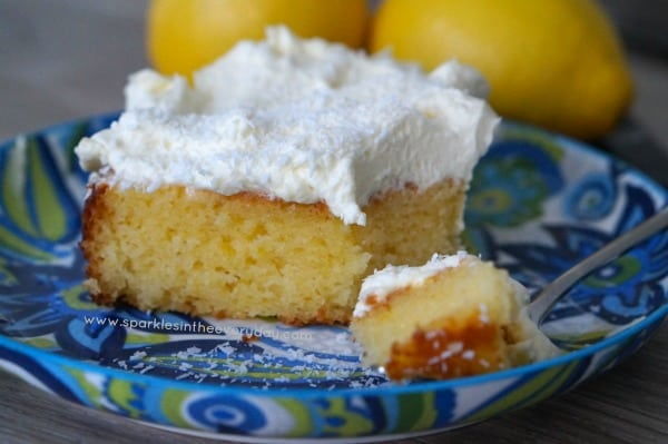 Gluten Free Coconut and Lemon Cake with freshly whipped cream!