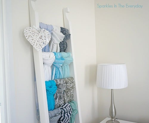 a great way for storing scarves when you don't have enough coat hangers.