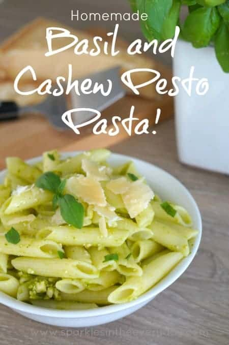 Homemade Basil and Cashew Pesto Pasta Recipe!