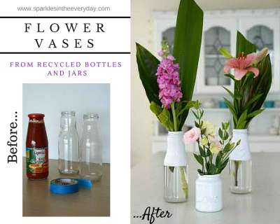 Flower vases form recycled bottles and jars before and after
