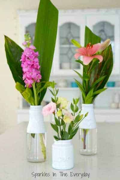 Flower And Recycled Bottles For Beautiful Vases