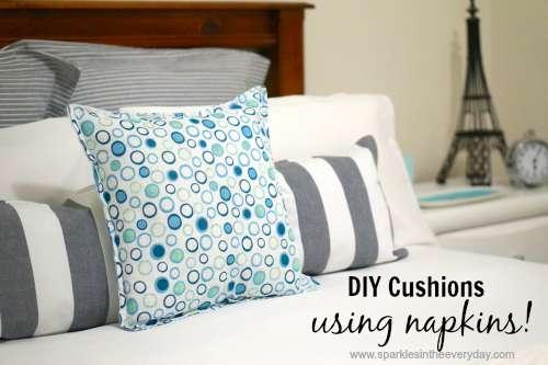 DIY cushions using napkins
