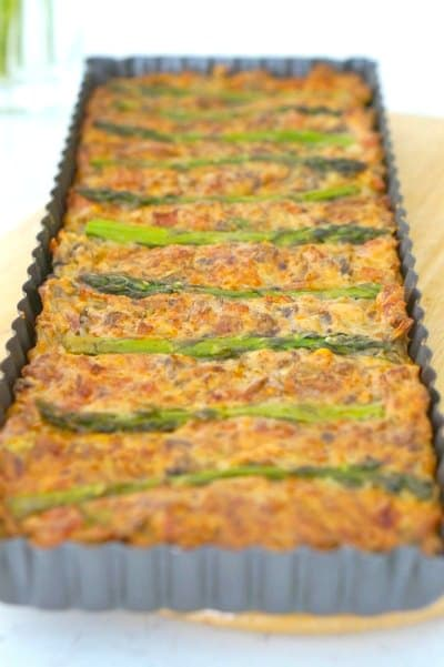 Bake Gluten Free Asparagus, Mushroom and Bacon Slice
