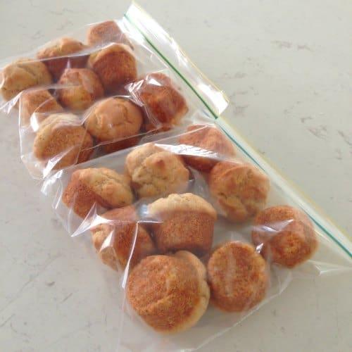 Banana and Cinnamon Mini Muffins (GF) ready to be frozen