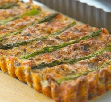 Gluten Free Asparagus, Mushroom and Bacon Slice