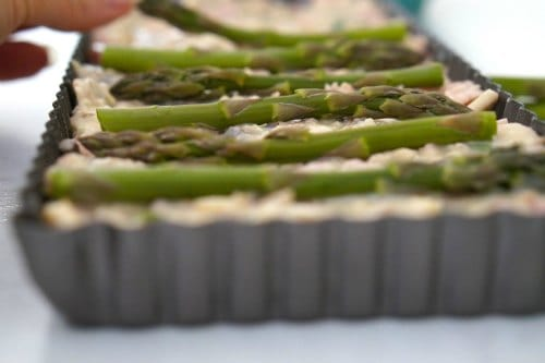 making Asparagus, mushroom and Bacon Slice