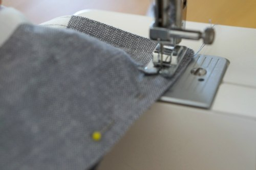 sewing DIY cushion using a placemat