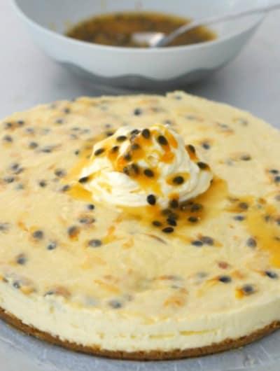 Gluten Free Passionfruit Swirl Cheesecake