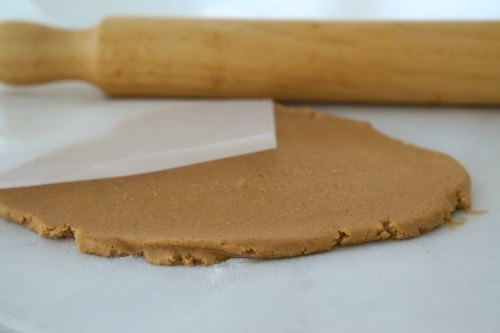Gluten Free Gingerbread mixture rolled flat