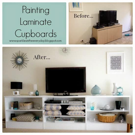 Painting Laminate Cupboards - Top 10 Craft and Recipe Ideas For 2015 from Sparkles In The Everyday!