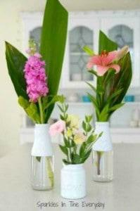 DIY Flower vases from recycled bottles