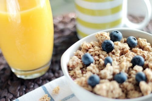 cereal and orange juice- an organised start to the day is a great way to simplify your life
