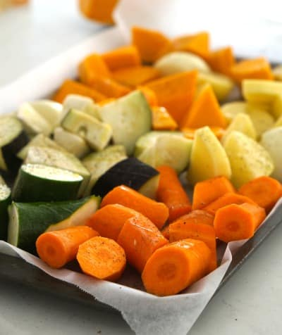 a tray of vegetables for Eggplant and Roasted Vegetable Soup