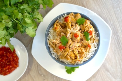 A bowl of Gluten Free Slow Cooker Asian Shredded Chicken