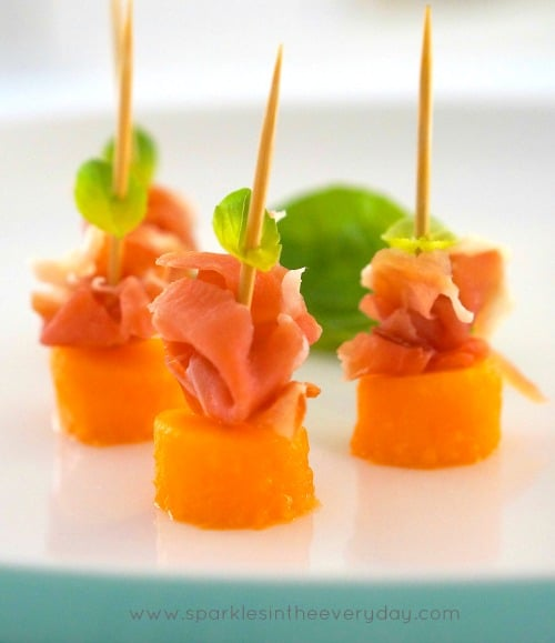 rockmelon, prosciutto and basil appetisers!! easy entertaining!