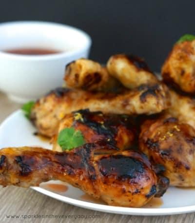 Asian Chicken Drumsticks with Plum Dipping Sauce GF