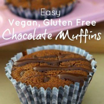 Easy Vegan, Gluten Free Chocolate Muffins!!