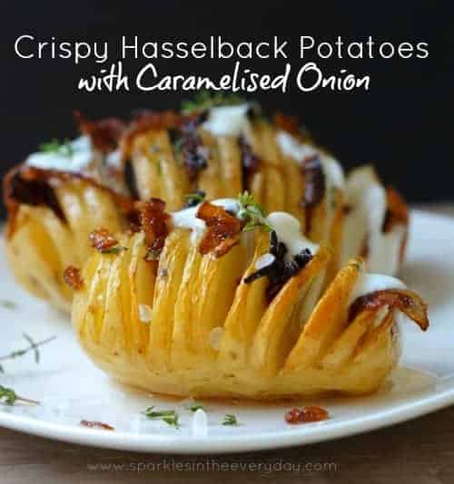 How to make Crispy Hasselback Potatoes with Caramelised Onion recipe