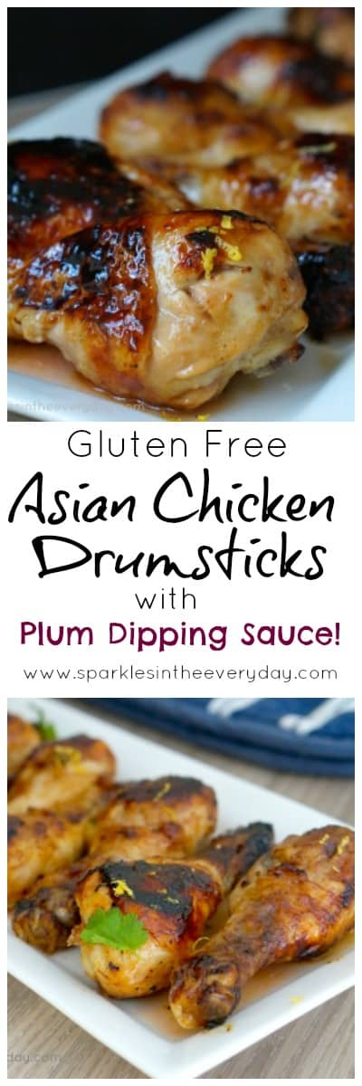 Easy Gluten Free Asian Chicken Drumsticks with Plum Dipping Sauce!