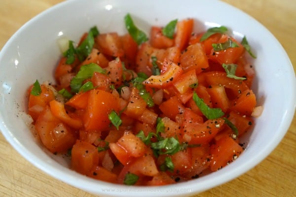 Tomato topping for Easy Tomato Bruschetta with Balsamic Glaze!