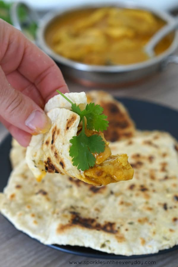 Gluten-Free Naan Bread topped with delicious curry and coriander!