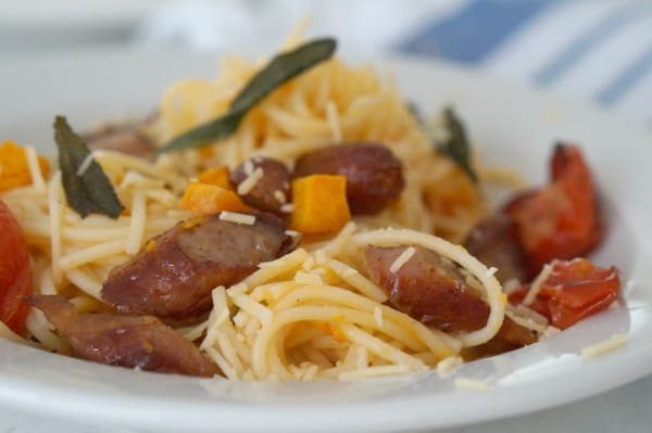 Sausage, Sage and Pumpkin Pasta (GF too)